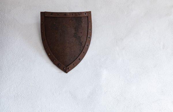 brown metal shield wall decor